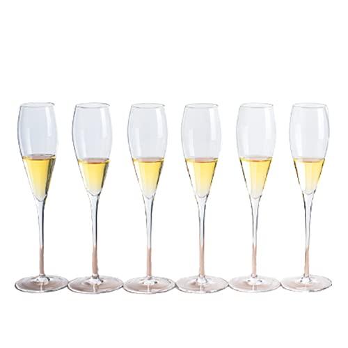 Copas Champan Con Forma De Flauta De Champán De 200 Ml, Diseño Elegante, Copa De Vino, Regalo Para Despedida De Soltera, Boda, Despedida De Soltera,6 packs