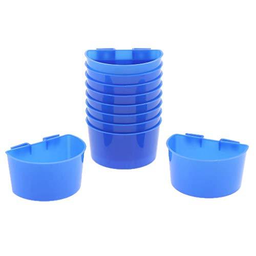 Backbayia 10 Stück Vogel Futternapf Wassernapf Kunststoff Futterschale Vogelnapf zum Einhängen für Käfig (L)