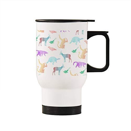 Taza de viaje con diseño de silueta de animal con asa, 15 onzas con calefacción, regalos personalizados para marido, papá, mamá, abuelo, abuela