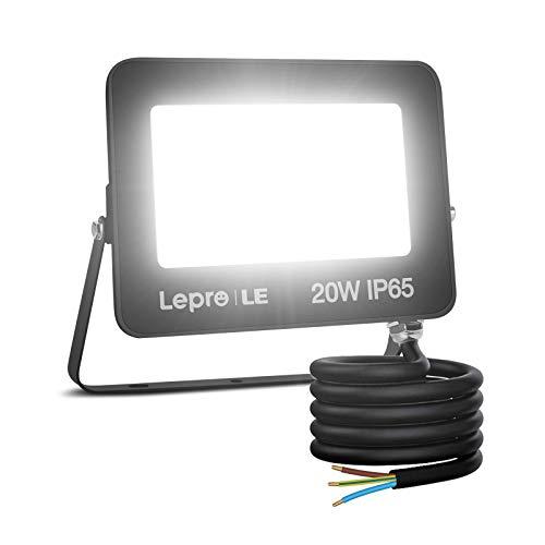 Lepro Faretto LED da Esterno, 20W 1700 lumen, Faro LED Esterno Bianco Diurno 5000K, Proiettore da Esterno Impermeabile IP65, Luce di Sicurezza per Giardino, Corridoio, Illuminazione Interna ed Esterna