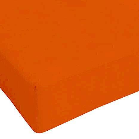 DEMONA Lenzuola sotto con Angoli Maxi Singolo Piazza E Mezza Vari Colori Offerta Elastico Copri Materasso (Arancio, Singolo)