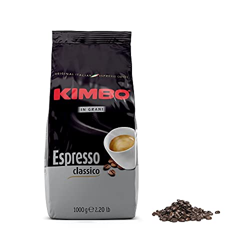 Kimbo Chicchi di Caffè Interi Espresso Classico, Tostatura Media, Busta da 1kg