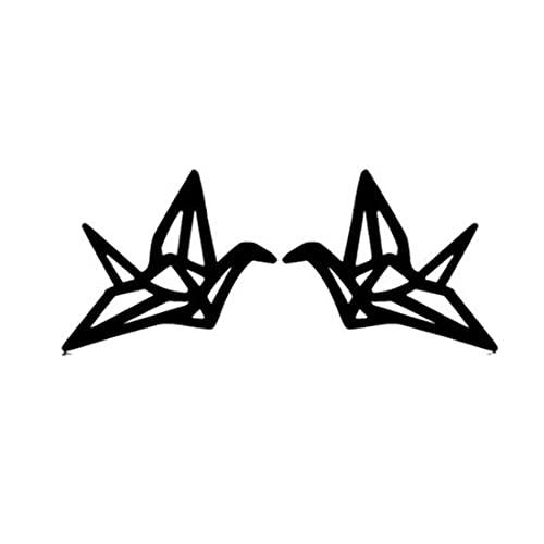 Nuevos pendientes de acero inoxidable mujeres lindo pájaro geométrico Stud pendiente chica joyería animal origami pendiente regalo (negro)