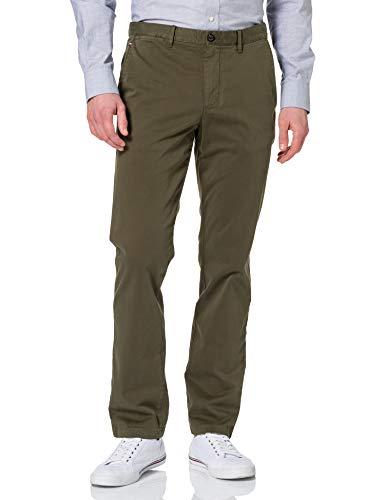 Tommy Hilfiger Denton TH Flex Satin Chino GMD Pantalones, Ejercito Verde, W32 / L34 para Hombre