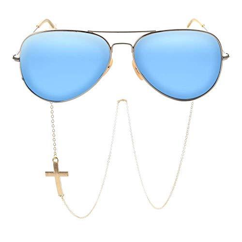 JMSHHT Glasses Chain for Men Cross Of Faith Lanyard Fashion Glasses Strap Sunglasses Cords Casual Glasses Accessories,Silver