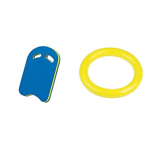 BecoTecno Pro Schwimmhilfe Board Kick- Blau/Gelb & Tauchring Sortiert Tauring, Mehrfarbig, One Size