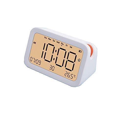 YSMLL Reloj Despertador Digital Control de Sonido Temperatura Pantalla de Fecha LED Despertador Brillo Reloj de Mesa Ajustable