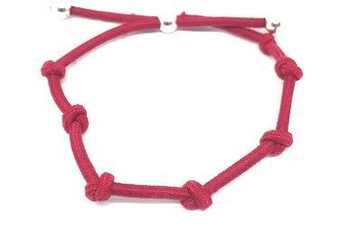 Pulsera Kabbalah Goma elástica roja Siete Nudos con Plata de Ley,Unisex,Ajustable,protección de Mal de Ojo,Buena Suerte.