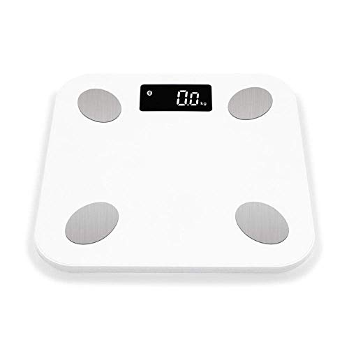 BINGFANG-W Discs Waage Personenwaage, Bluetooth Waage, Bodenkörpergewicht Smart-Backlit Display-Skala, Körpergewicht Körperfett Wasser Muskelmasse, 180Kg, Weiss Abrasive