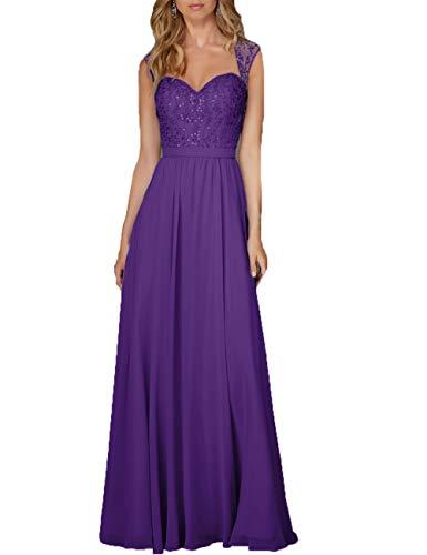 Damen Abendkleid Lang Hochzeitskleid Chiffon A-Linie Ballkleid Brautjungfernkleider Ärmellos Festkleid Violett 34