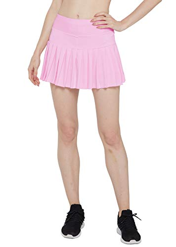 HonourSex Pink Women Tennis Skirt Pleated Golf Skirts with Pockets Skort Workout Sports Hiking L