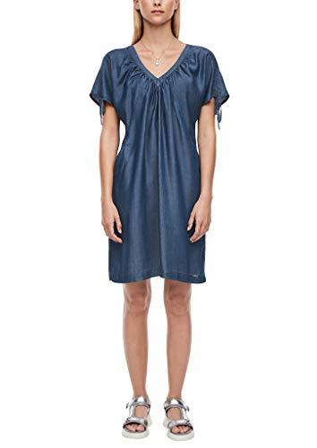 Q/S designed by - s.Oliver Damen Light Denim-Kleid mit Raffung dark blue 34