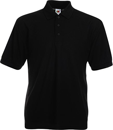 Fruit of the Loom SS033M, Polo Uomo, Black, Large