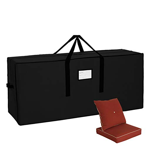 JJCKHE Patio Cushion Storage Bag, Outdoor Protective Zippered Patio Furniture Cover, 600D Heavy Duty Waterproof Cover Storage Bag with PVC Window,Black