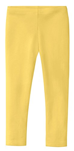 City Threads Girls' Leggings 100% Cotton for School Uniform Sports Coverage or Play Perfect for Sensitive Skin or SPD Sensory Friendly Clothing, Yellow, 14