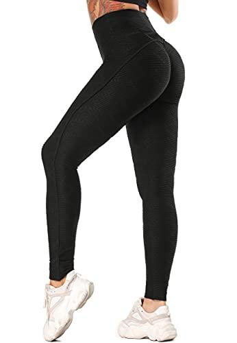 STARBILD Leggings Sportivi da Donna Anti-Cellulite Sexy Push Up Vita Alta Pantaloni Compressione Yoga Pant Calzamaglie Slim Palestra Allenamento, C-Nero XL