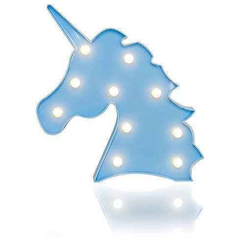 DON LETRA Unicornio Luminoso Decorativo con Luces LED, Iluminación Decorativa Infantil, 10 Bombillas, Plástico, Alimentado por Batería 2*AA, 25.5 x 24.5 x 3 cm, Azul, Z-23