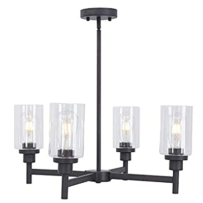 VINLUZ 6 Light Industrial Chandelier Black Pendant Lighting Hanging Fixture with Cylinder Clear Glass for Kitchen Bedroom Dining Room