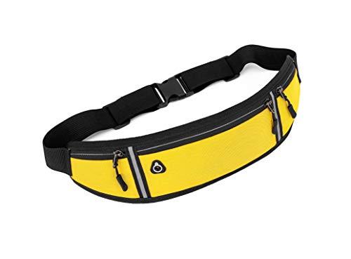 Riñonera deportiva impermeable, para correr, al aire libre, ciclismo, cinturón de fitness, viaje, unisex, para mujeres, hombres y mujeres, para máx. 7 pulgadas (amarillo)