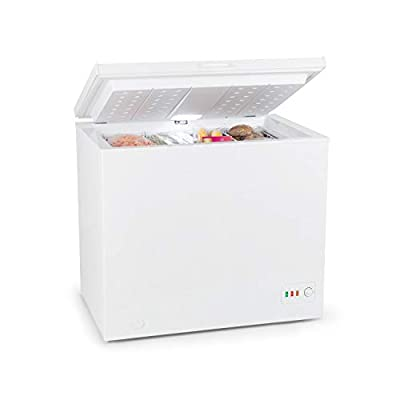 Klarstein Iceblokk Eco Chest Freezer - Freezer, 3-Star Freezer, 200 litres, 49 W, 2 x Removable Hanging Basket, LED Lighting, Free-Standing, Temperature Controller, Floor Fasters, White