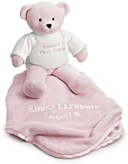Things Remembered Personalized Pink Teddy Bear and Blanket with Embroidery Included