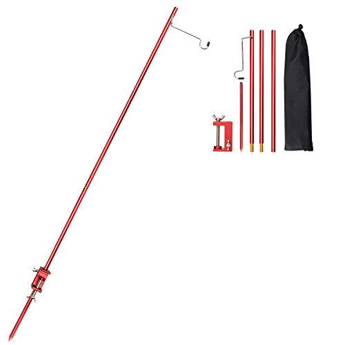 TOBWOLF Poste de lámpara plegable portátil con pico, soporte de aluminio ligero plegable para lámpara al aire libre para picnic, senderismo, pesca, mochilero, barbacoa, color rojo