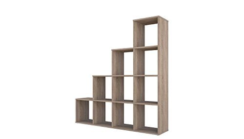 Polini étagère escalier étagère marchepied étagère séparateur de pièce chêne 10 compartiments, 1697.68
