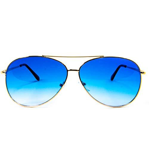 Óculos De Sol Aviador Redondo Feminino Masculino Com Proteção Uv400 (Azul)