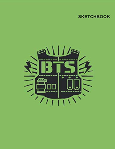 Sketchbook for BTSs: Unlined (Unruled) Notebook, 110 White Pager, 8.5 inch x 11 inch, BTS Bulletproof Vest Green Design Cover.