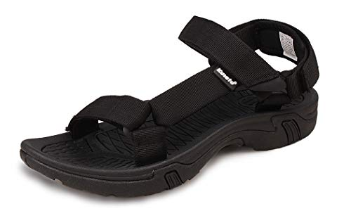 Kunsto Men's Sport Sandal Shoes US Size 8 Solid Black