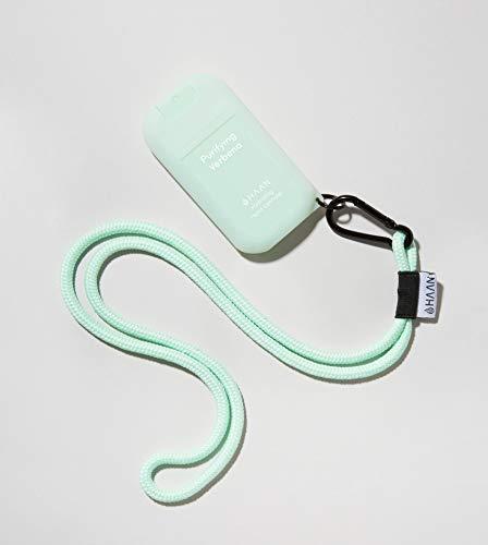 HAAN Desinfectante de Manos Dispensador + Accesorio para Colgar   Higienizante e Hidratante en Spray   Dispensador Recargable   Cordón y Funda para Colgar en el Cuello   30 ml   Verbena