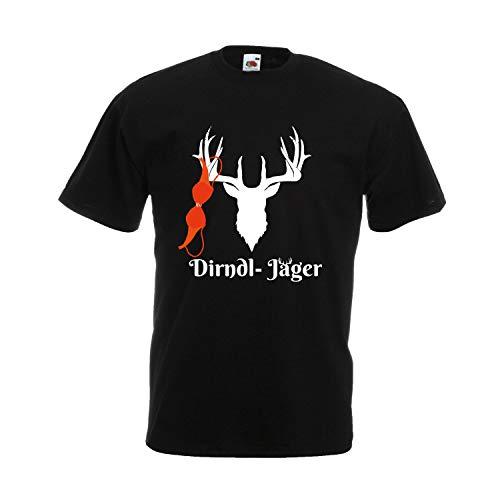 Oktoberfest T-Shirt Herren mit Motiv - Dirndl-Jäger - Tracht Männer Schwarz (Druck Weiß) XXXXXL
