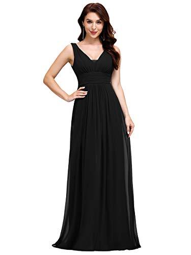 Ever-Pretty Vestito da Cerimonia Donna Linea ad A Scollo a V Chiffon Stile Impero Lungo Nero 46