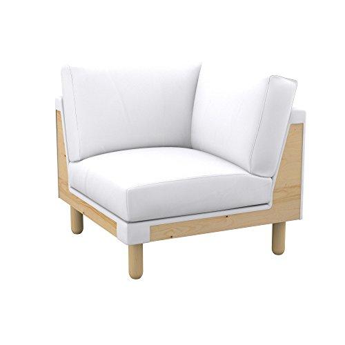 Soferia Funda de Repuesto para IKEA NORSBORG módulo de Esquina, Tela Eco Leather White, Blanco