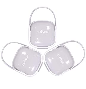 purifyou PurePouch BPA-Free Nipple Shield Case & Pacifier Case, Set of 3, with Free Mesh Sack (Set of 3, Clear) …