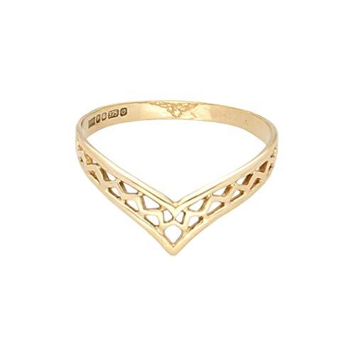 Women's 1988 9Carat Yellow Gold Fancy Wishbone Band (Size O 1/2) 5mm Widest | Luxury Ladies Ring