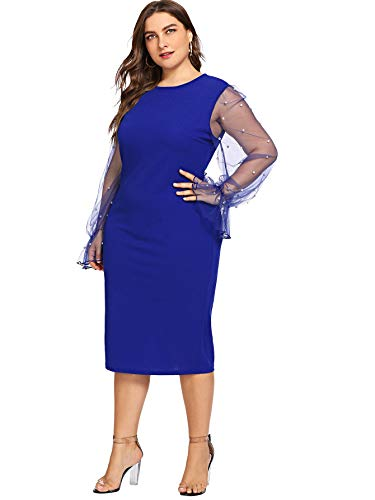 SheIn Women's Plus Size Elegant Mesh Contrast Pearl Beading Sleeve Stretchy Bodycon Pencil Dress Blue X-Large Plus