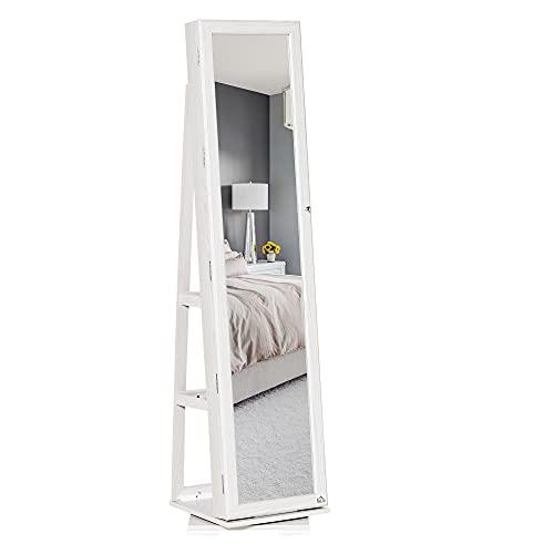 homcom Specchio Portagioie, Specchio da Terra Girevole, Specchio Moderno per Camera da Letto in Legno Bianco con 2 Chiavi