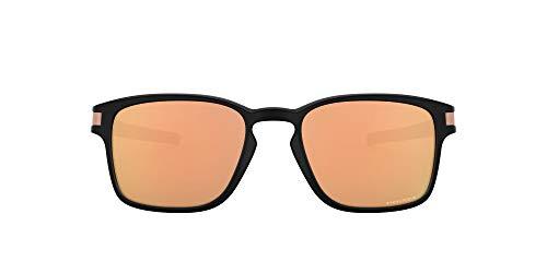 Oakley OO9358 Latch Sq Asian Fit - Gafas de sol para hombre, color negro mate, oro rosa Prizm, 55 mm