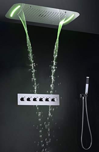DDZKA Dusche Badezimmer Regendusche Wasserhahn Set Wasserfall Badmischer Duschpaneel Decke LED Duschkopf Thermostatisches BadDuschsystem, kein Body Jet Kein Auslauf