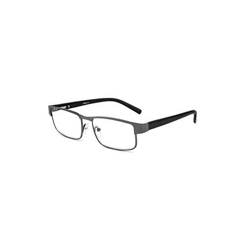 JJWELL Blue Light Blocking Computer Metal Rectangle Reading Glasses for Men, Comfort Spring Hinge, Blue Rays Blocker Anti-UV Eyestrain Full Rim Readers with Case