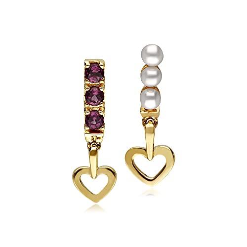 Pendientes de gota de corazón con perlas cultivadas de agua dulce y roodolita