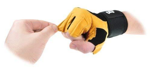 """Deluxe Leder Trainings- und Fitness schwarz / braun – Handschuhe """" The Bat"""" inkl. elastischer Nylon Handgelenksbandagen - 4"""