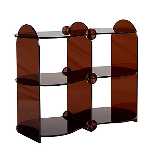 WEDF Cestas de periódicos de acrílico, multifuncional, para cocina, dormitorio, accesorios de escritorio, estante de acabado para tazas de café (color: marrón, tamaño: 452035,5 cm)