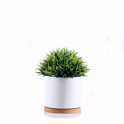 Gleasyshop vasi Moderni in Ceramica con Base in bambù per Uso Interno o Esterno. Piccolo