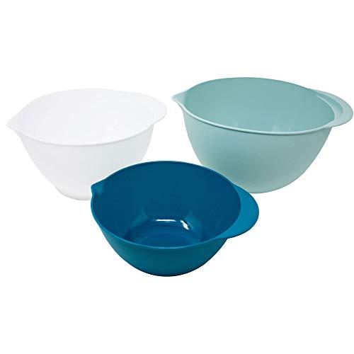 ToCi, set di 3 ciotole per impasto da 1/2/3 litri, ciotole in plastica in verde scuro, verde menta e bianco