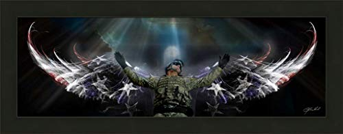 Home Cabin Décor The Guardian by Jason Bullard 16x40 Soldier Military Patriotic Inspirational Angel Wings Stars and Stripes Americana Framed Art Print Picture