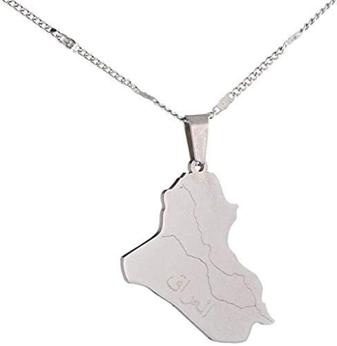 Collar de acero inoxidable con nombre de Alá, mapa de Irak, collares pendientes, mapa de Irak, joyería con encanto