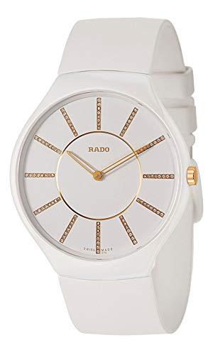 Rado True Thinline White Ceramic Womens Watch Pin Buckle Clasp Diamonds...