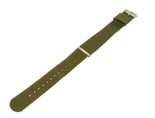 18mm Army Green Standard Length - BARTON Watch Bands - Ballistic Nylon Military Style Straps